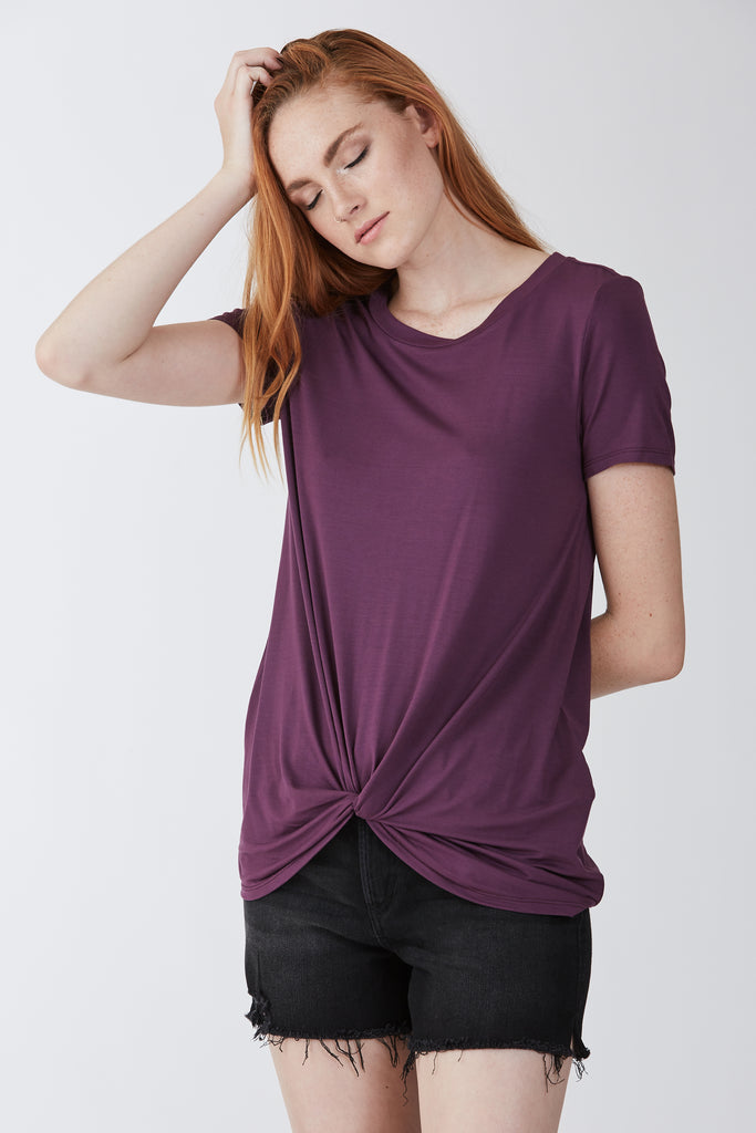 JULIA FRONT KNOT TEE ORCHID