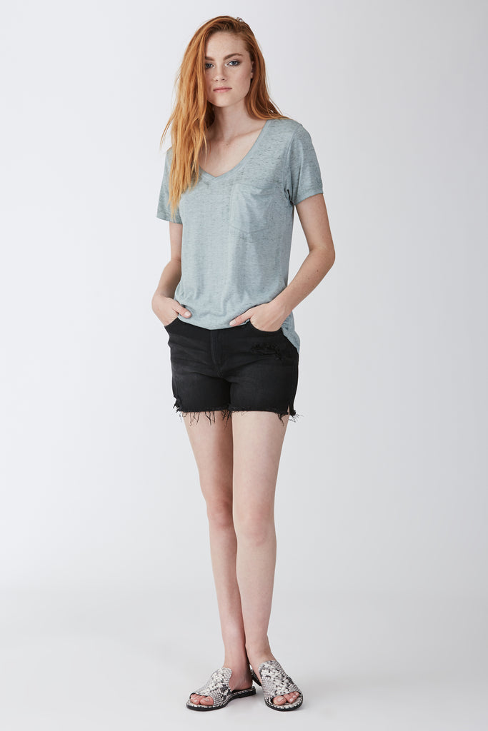 PHOENIX BURNOUT POCKET VNECK TEE FERN