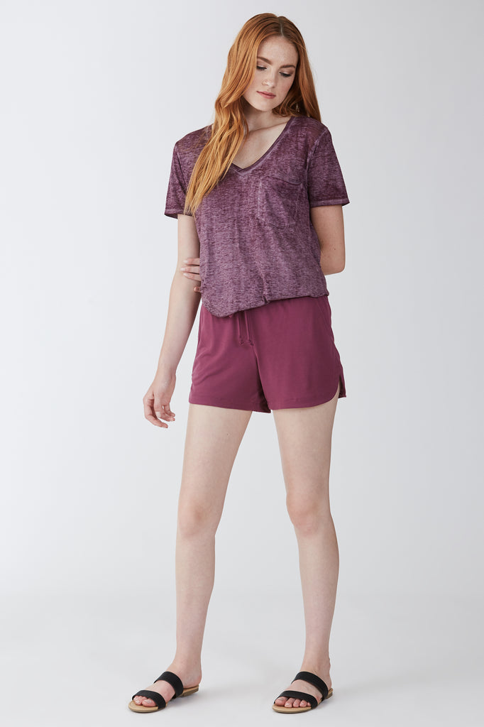 PHOENIX BURNOUT POCKET VNECK TEE ORCHID