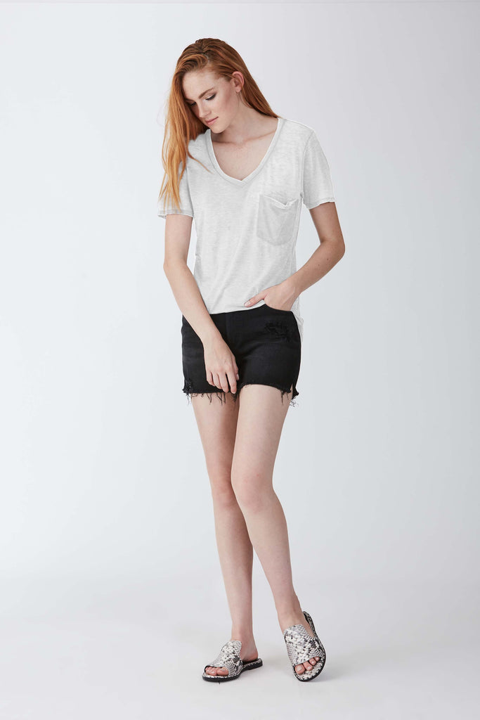 PHOENIX BURNOUT POCKET VNECK TEE WHITE