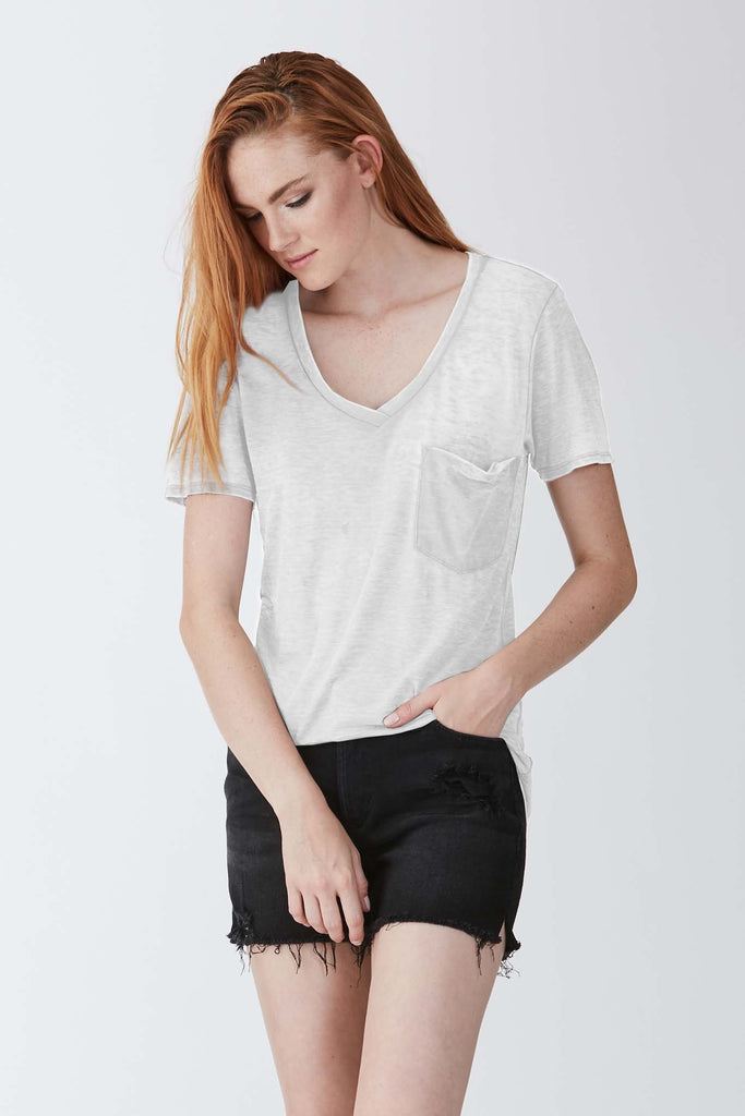PHOENIX VINTAGE WASHED V-NECK WHITE