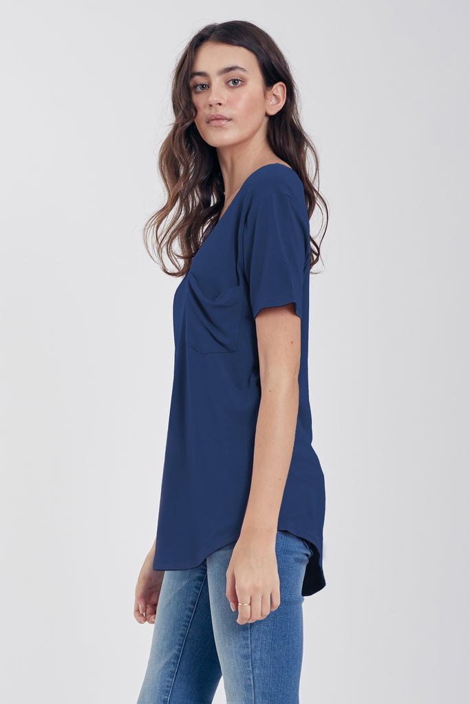PHOENIX POCKET VNECK TEE OXFORDBLUE