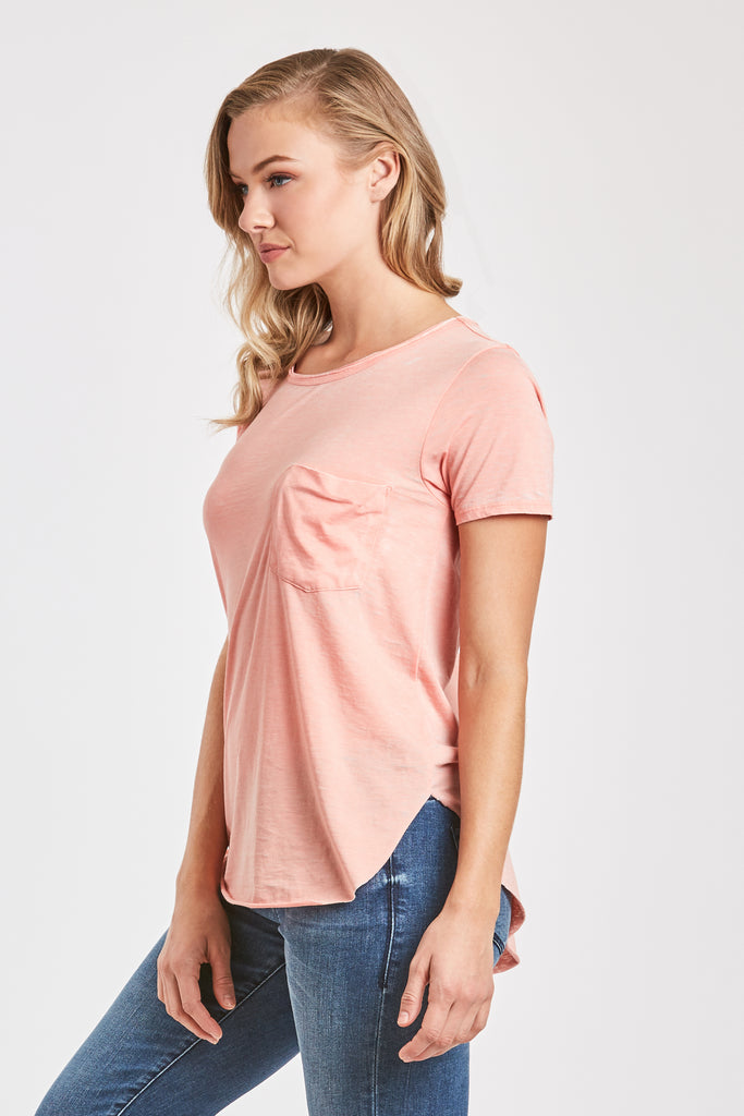 SAM CREW NECK BURNOUT TEE SHIRT BLUSH