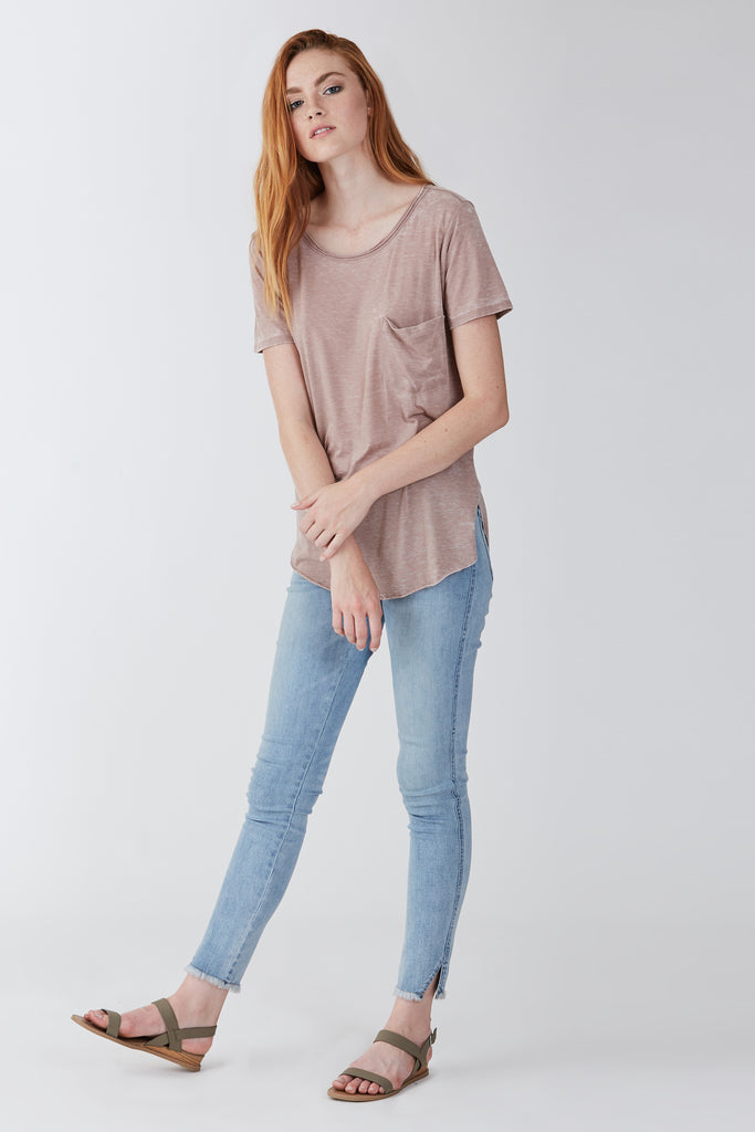SAM CREW NECK BURNOUT TEE LIGHT MOCHA