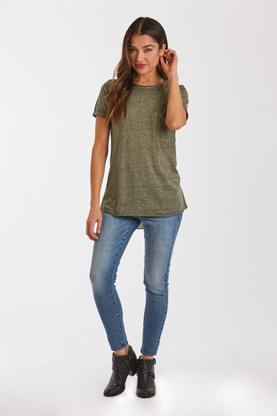 SAM CREW NECK BURNOUT TEE OLIVE