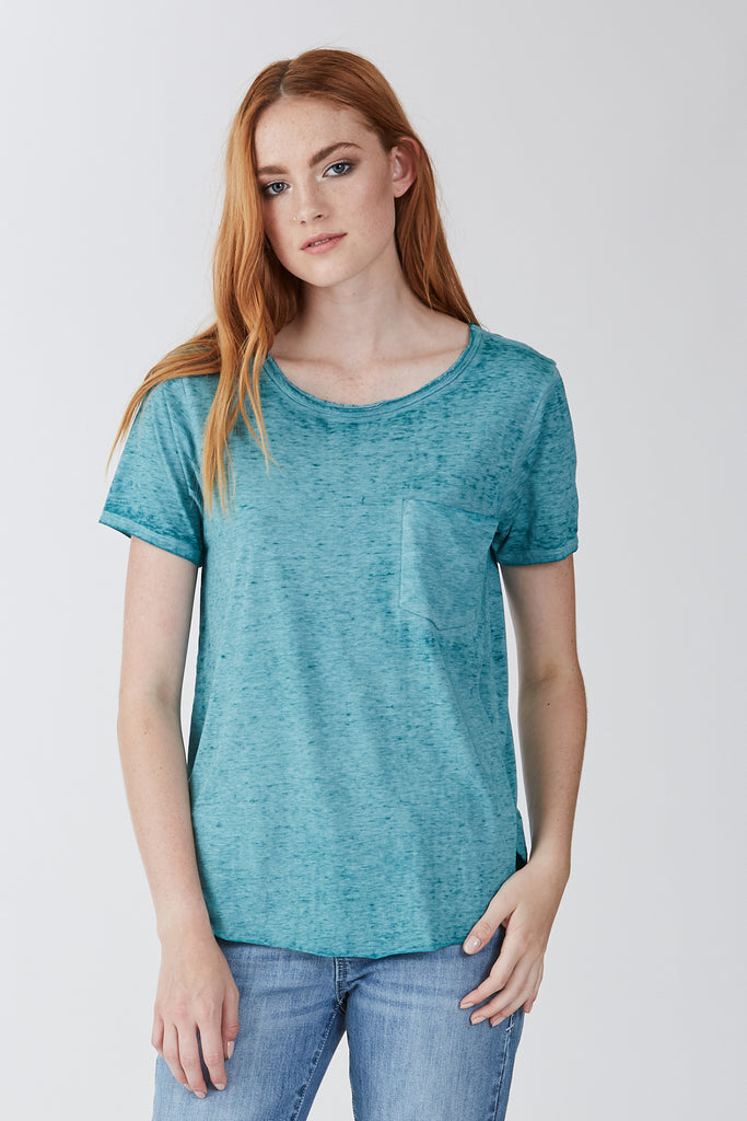 SAM CREW NECK TEE BURNOUT SEAGLASS