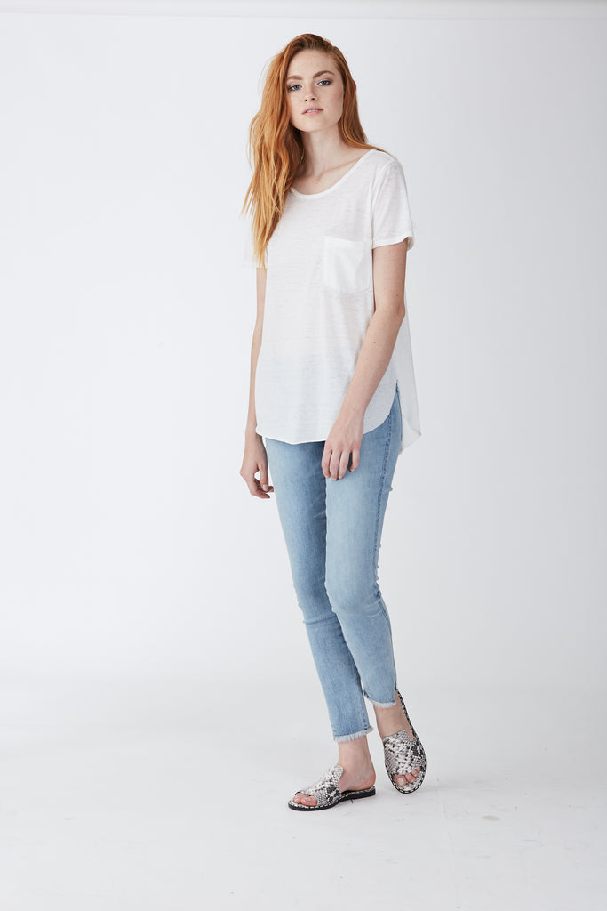 SAM CREW NECK BURNOUT TEE WHITE