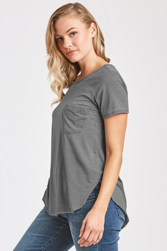 SAM CREW NECK BURNOUT TEE CHARCOAL