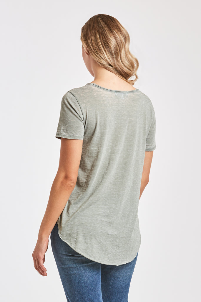 SAM CREW NECK BURNOUT TEE SHIRT SOFT JADE