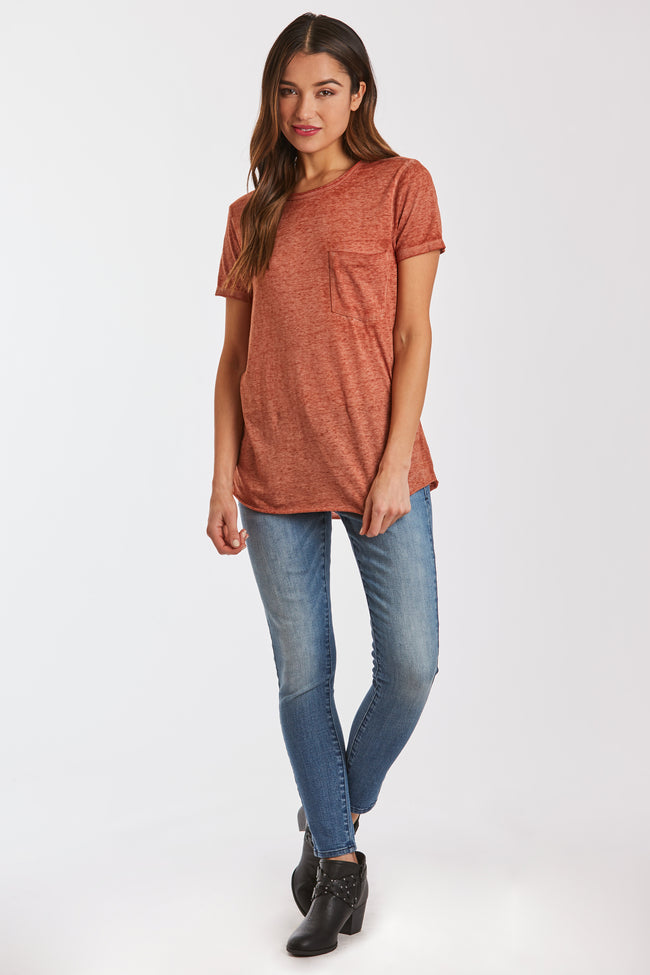 SAM CREW NECK BURNOUT TEE SPICE