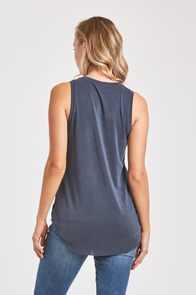 ESTHER VNECK TANK W/ PKT NAVY