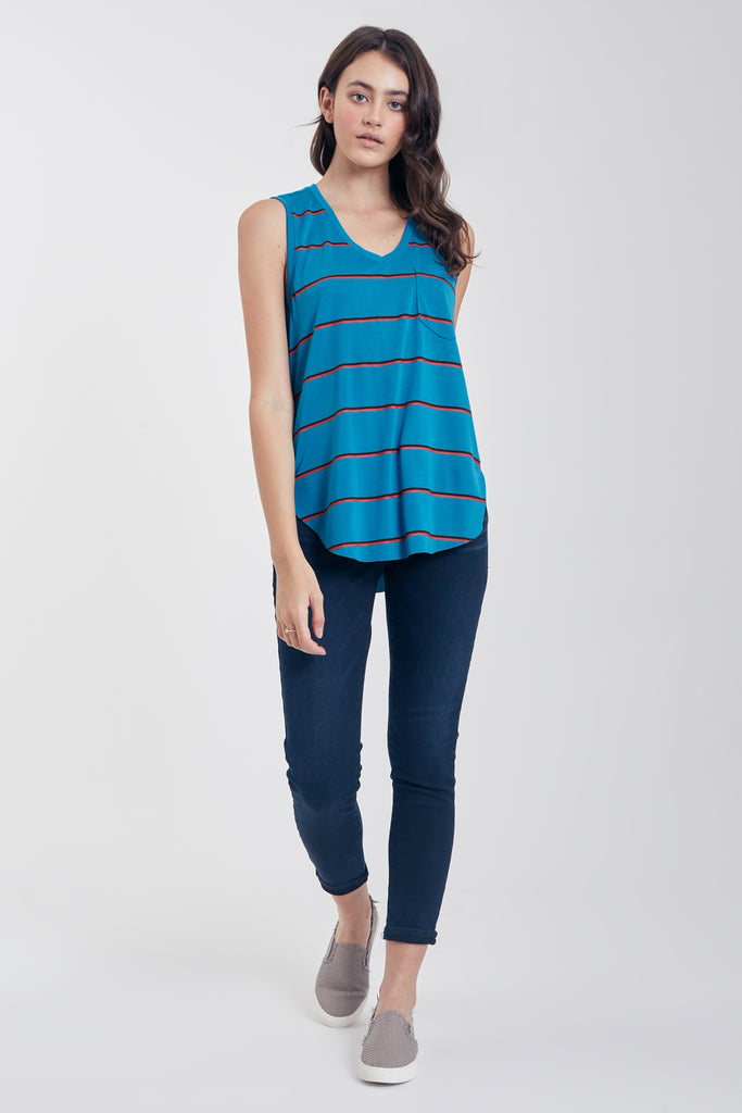 ESTHER STRIPE TANK W/ PKT SEA BLUE