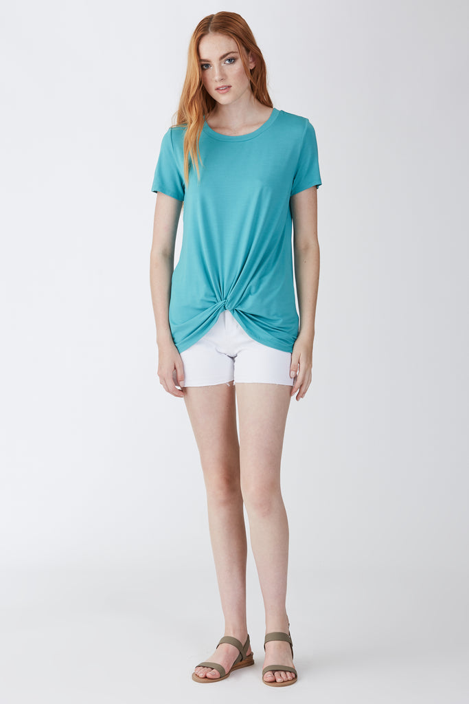 JULIA FRONT KNOT TEE SEAGLASS
