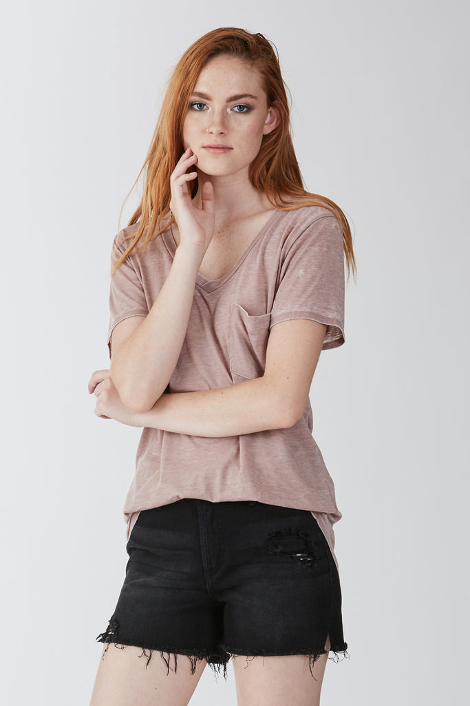 PHOENIX BURNOUT POCKET VNECK TEE LIGHT MOCHA