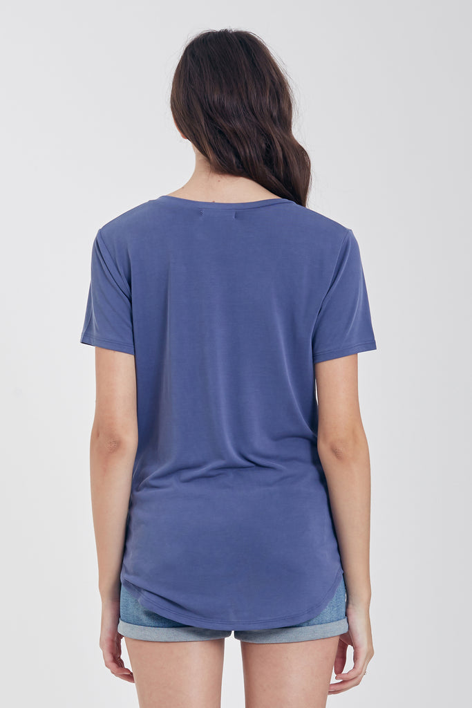 VALENTINA V-NECK TEE DARKDENIM