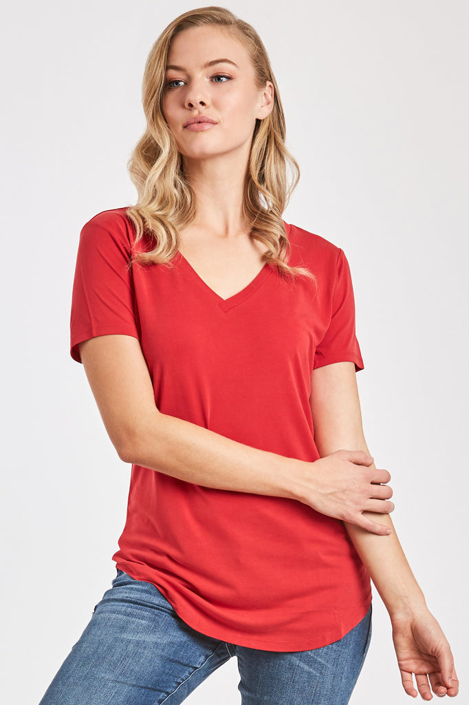 VALENTINA V-NECK TEE RED