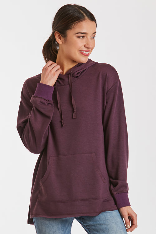 MACKENZIE FRENCH TERRY SWEATSHIRT EGGPLANT