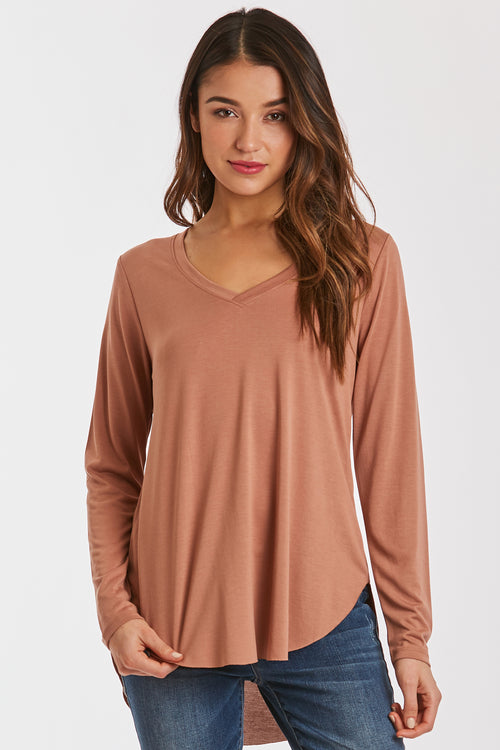 LILAH LONG SLEEVE VNECK MOCACHINO