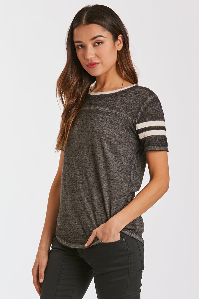 ANALISA BURNOUT ATHLETIC TEE BLACK/CREAM