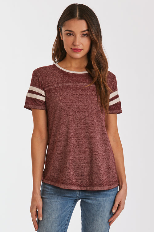 ANALISA BURNOUT ATHLETIC TEE BORDEAUX/CREAM