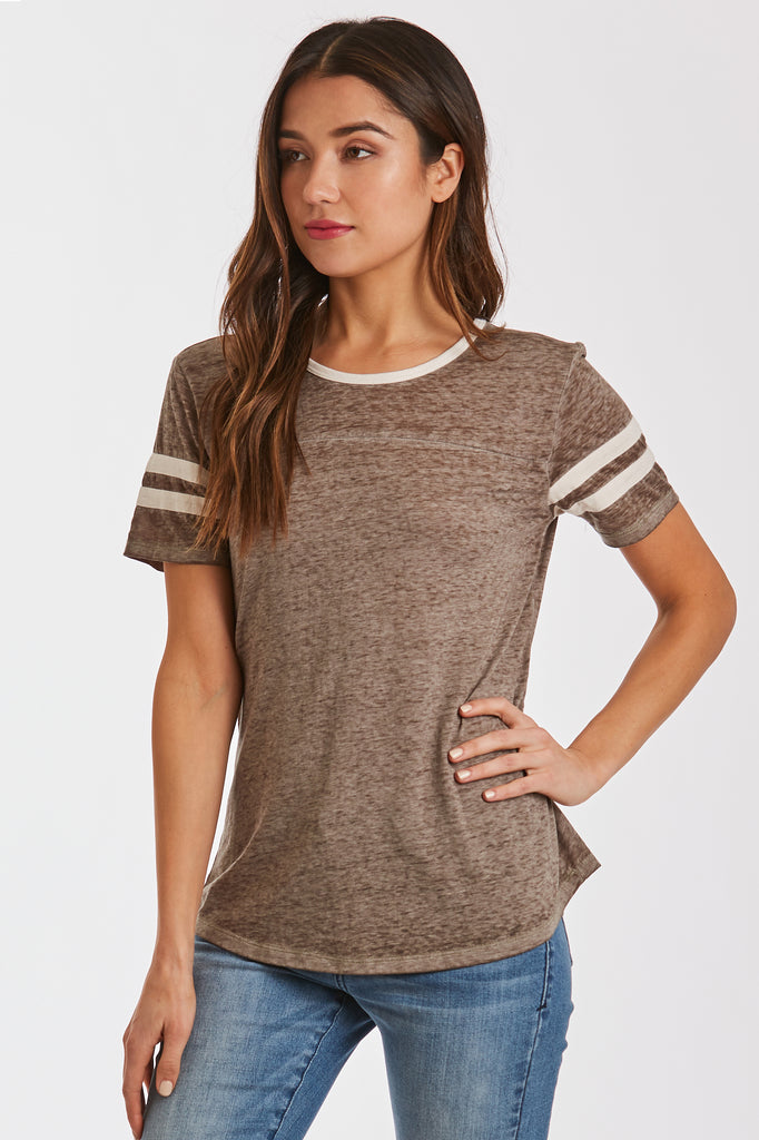 ANALISA BURNOUT ATHLETIC TEE OLIVE/CREAM