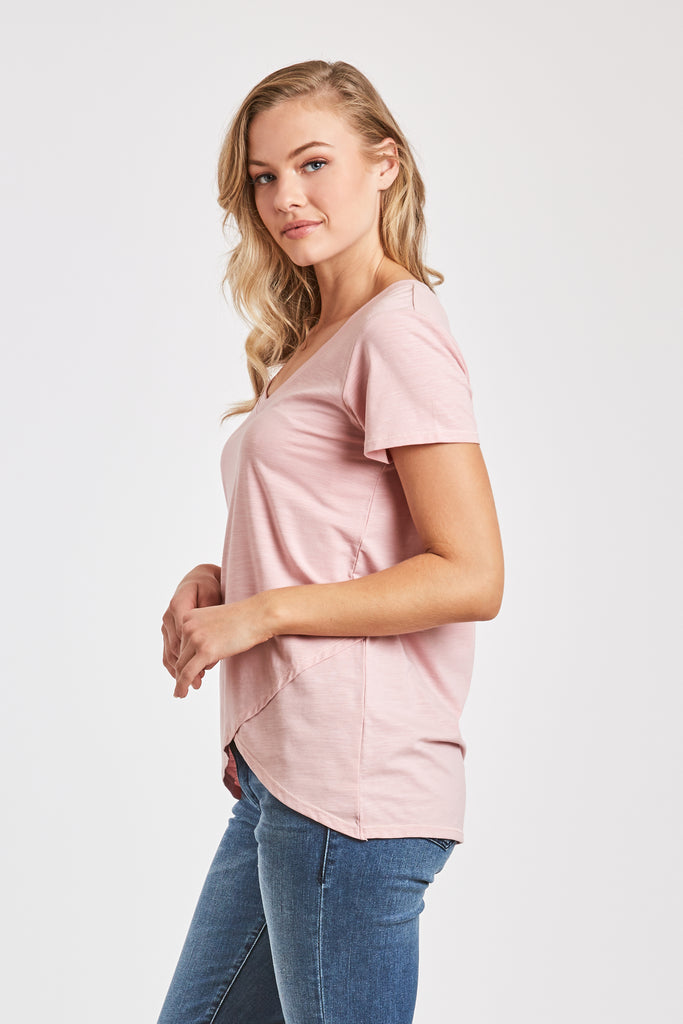VIRGINIA HI LO VNECK TEE BLUSH