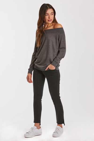 MARY OFF SHOULDER HEATHER CHARCOAL