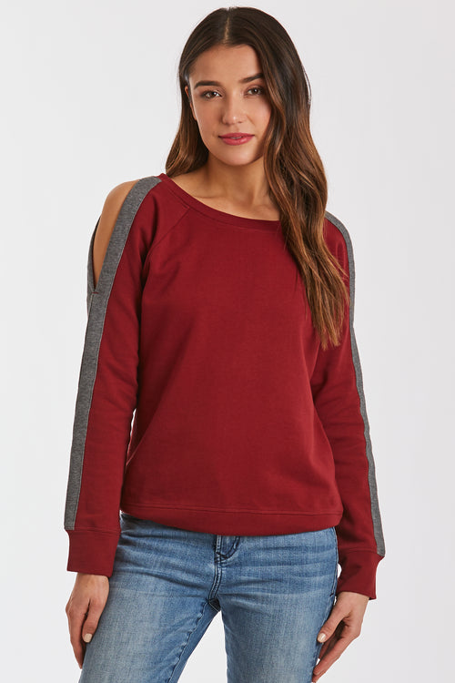 HELEN COLD SHOULDER BURGUNDY