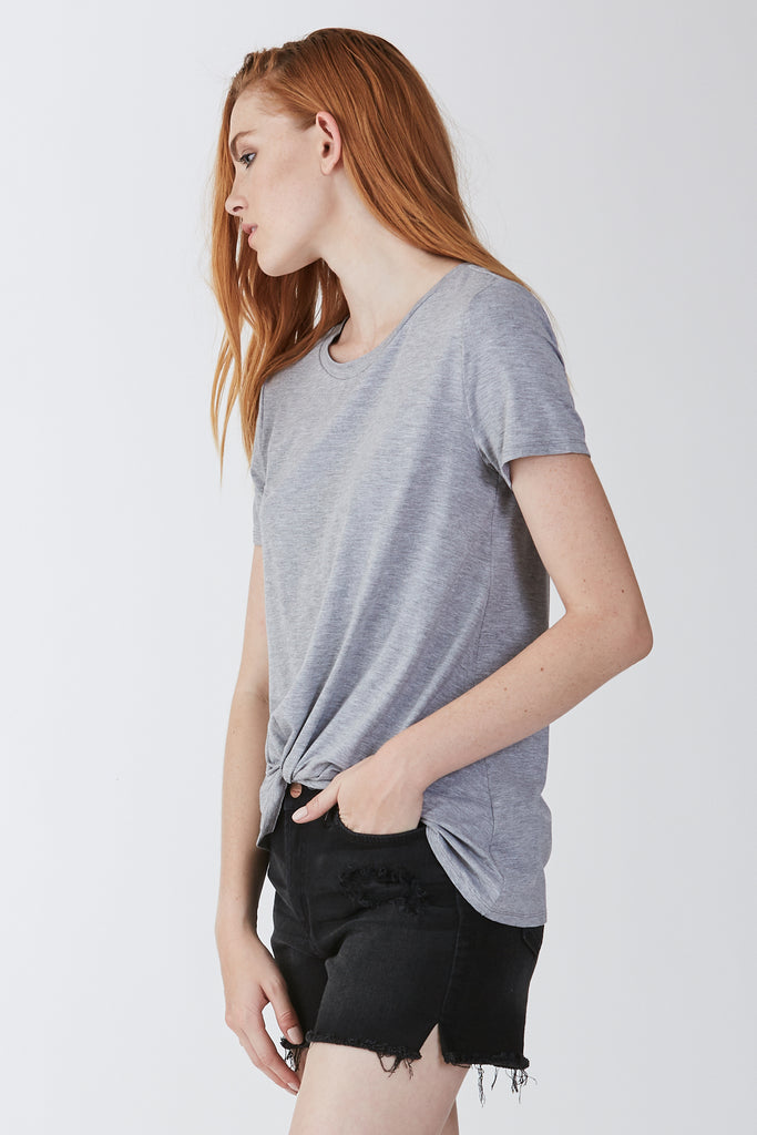JULIA FRONT KNOT TEE HEATHER GREY