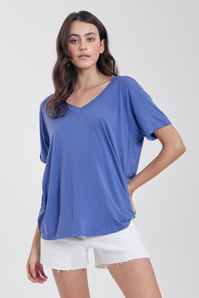 TAYLOR RELAXED FIT V-NECK BLUE PEARL