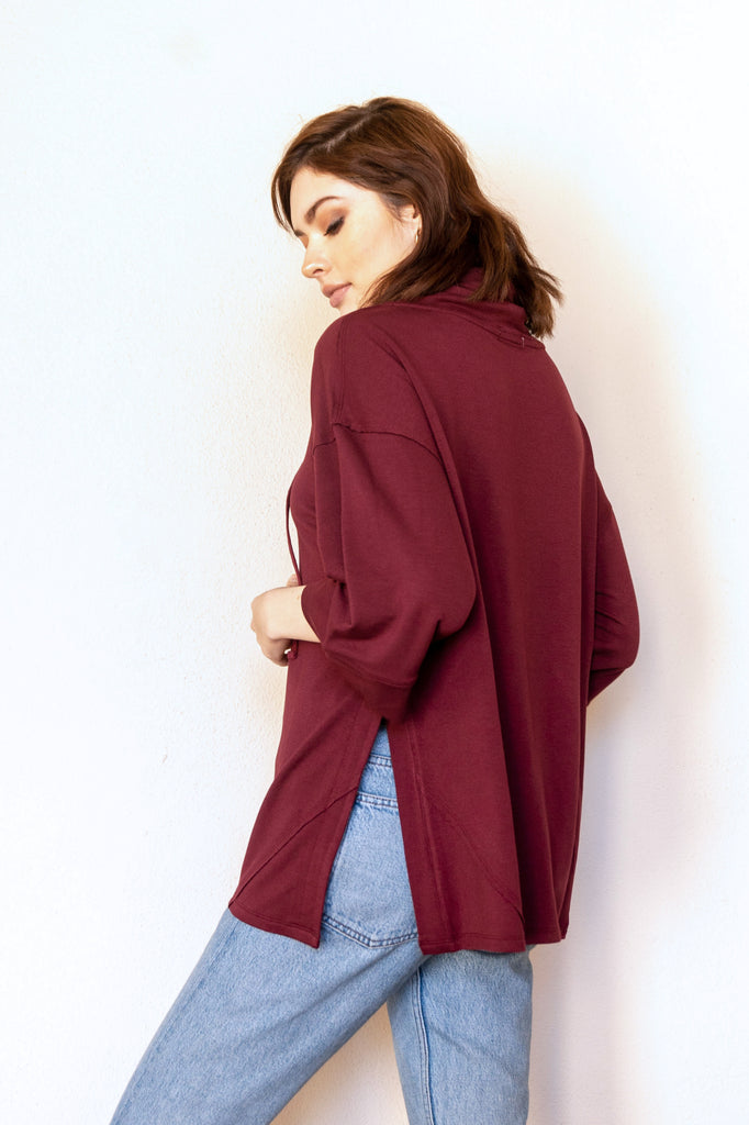 HAZEL RELAXED FUNNEL NECK TOP BORDEAUX