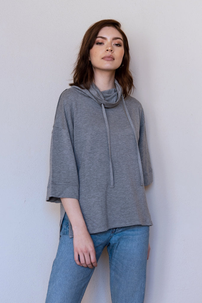 HAZEL RELAXED FUNNEL NECK TOP HEATHER GREY