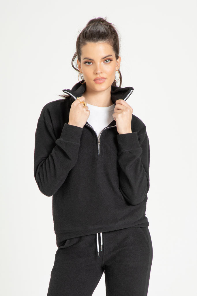 ALONDRA BRUSHED PULLOVER FLEECE BLACK
