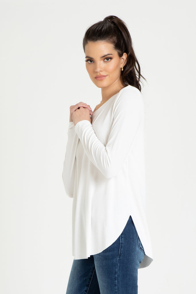 CASEN CREW NECK LONG SLEEVE WHITE