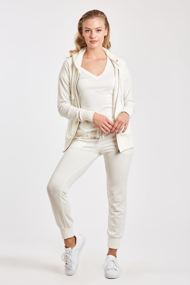 ANGELA BURNOUT JOGGER W/ PKT WHITE