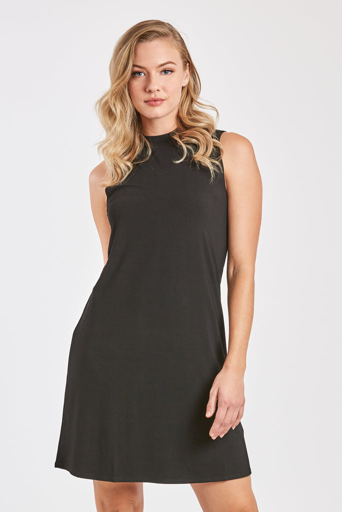 dfcd748f7771 NOELLE SLEEVELESS MOCK NECK DRESS BLACK – Another Love Clothing
