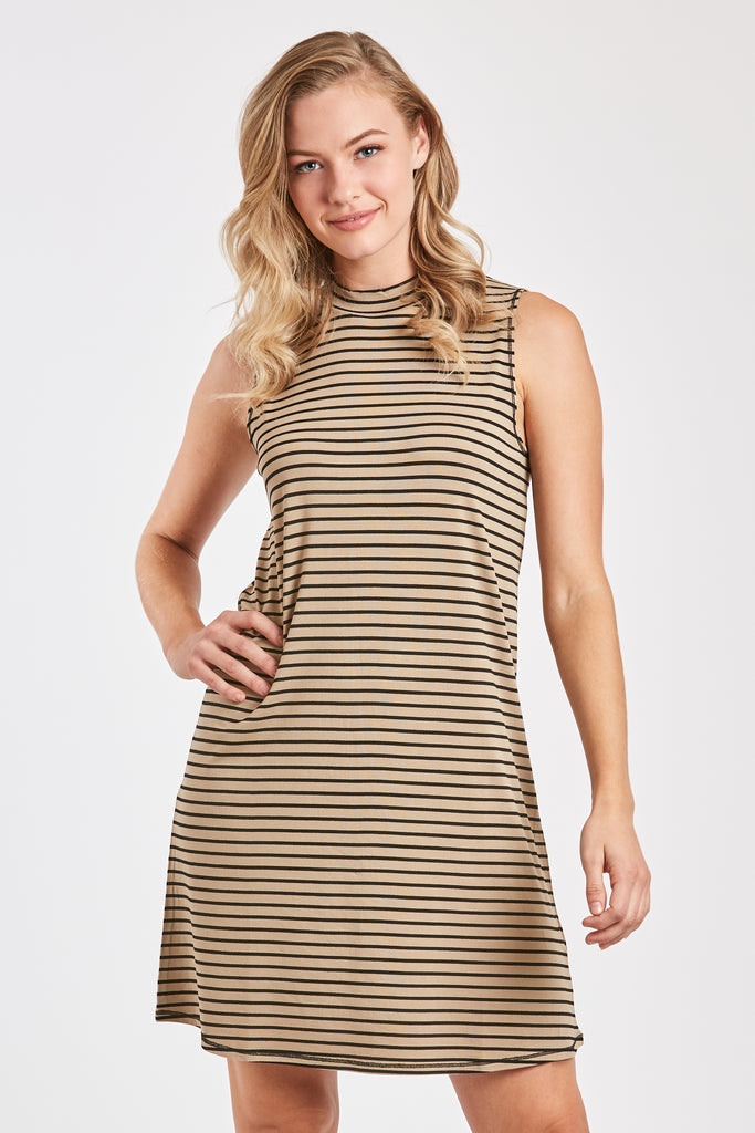 NOELLE SLEEVELESS MOCK NECK DRESS TAUPE/BLACK
