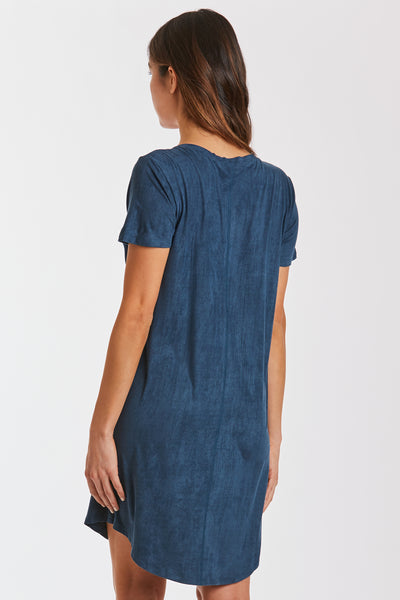 CASSIDY SUEDE TSHIRT DRESS DARK TEAL