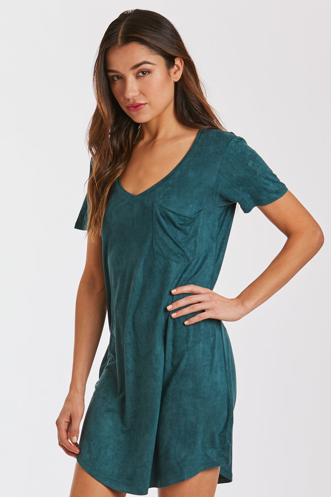 CASSIDY SUEDE DRESS EMERALD