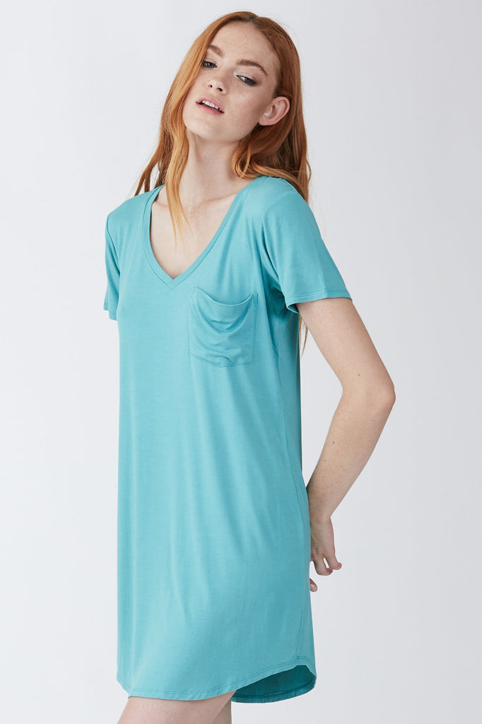 CASSIDY SOLID TSHIRT DRESS SEAGLASS