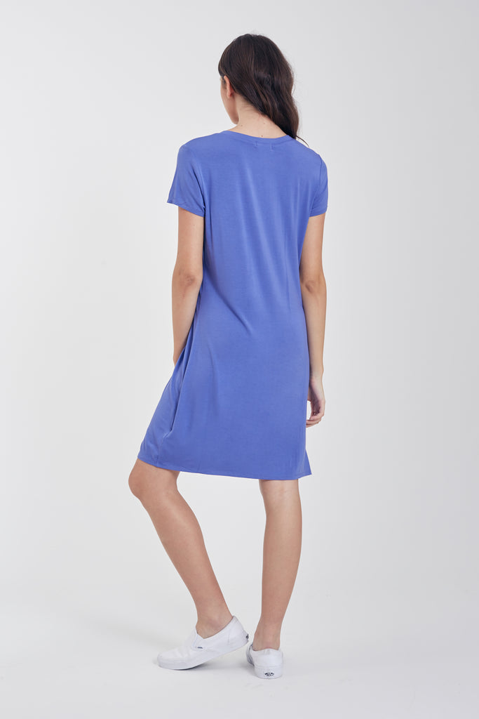 HOPE VNECK SIDE KNOT DRESS BLUE PEARL