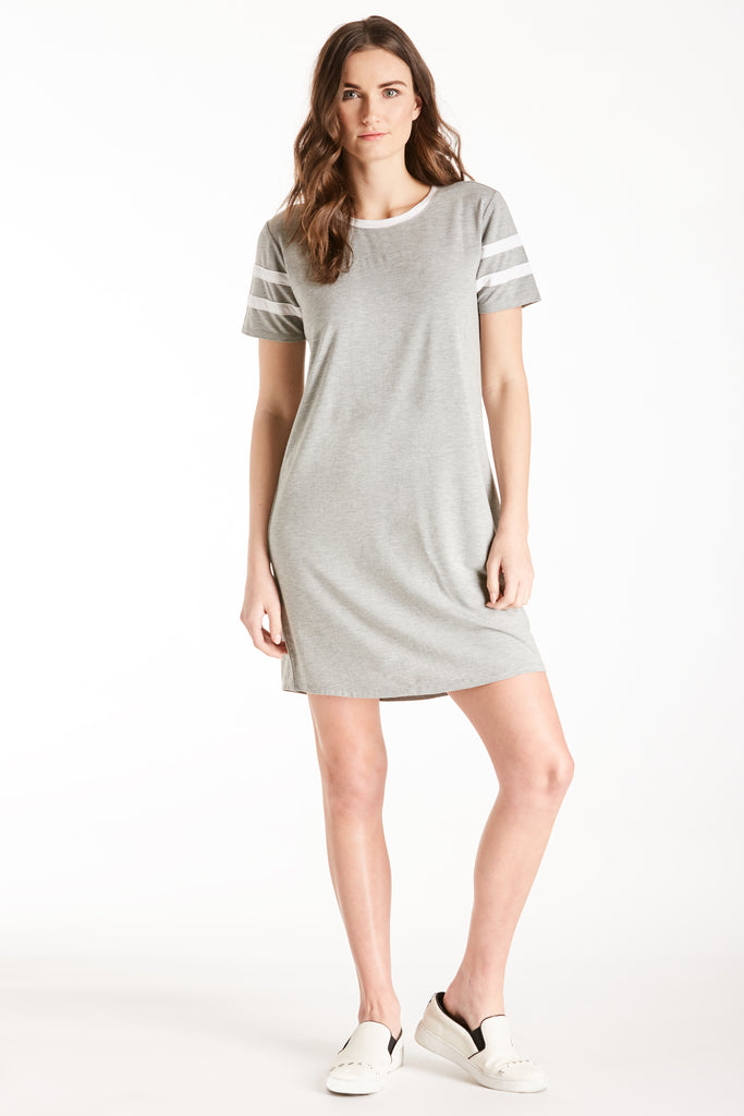 COCO BASEBALL TEE DRESS HEATHER GREY / WHITE