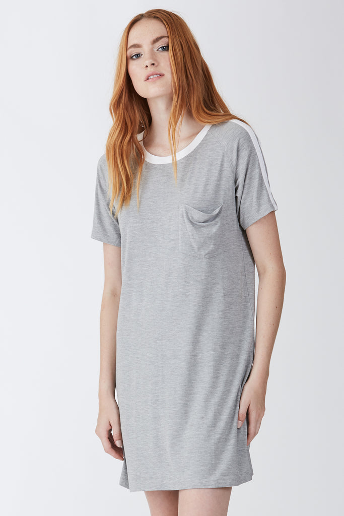 MEGAN DRESS HEATHERGREY/WHITE