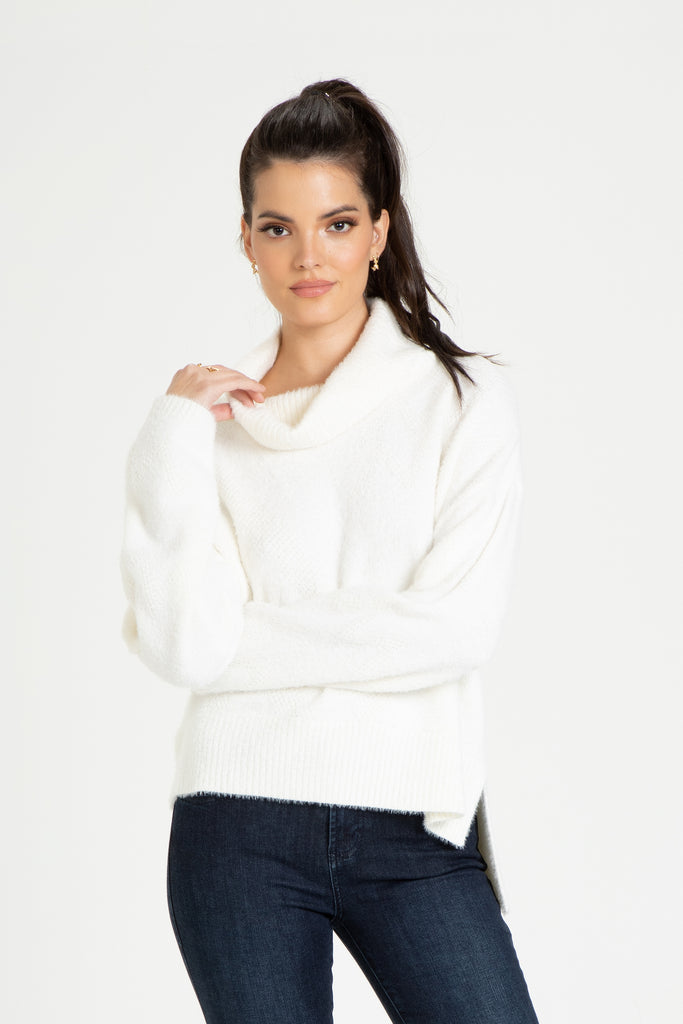CECELIA COWL NECK SWEATER ACACIA WHITE