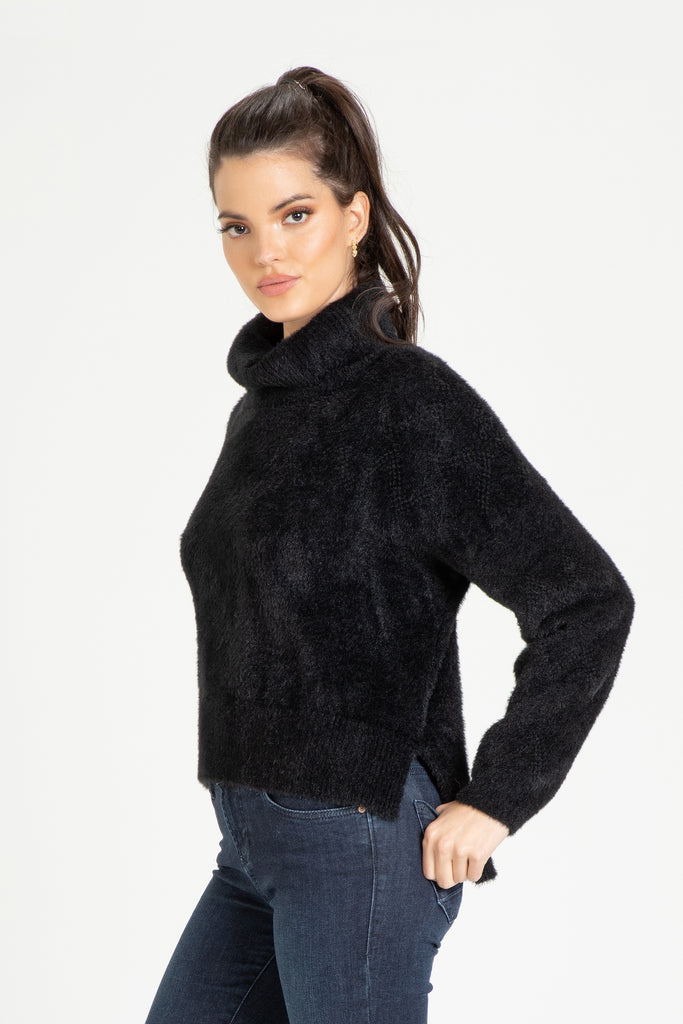 CECELIA COWL NECK SWEATER BLACK