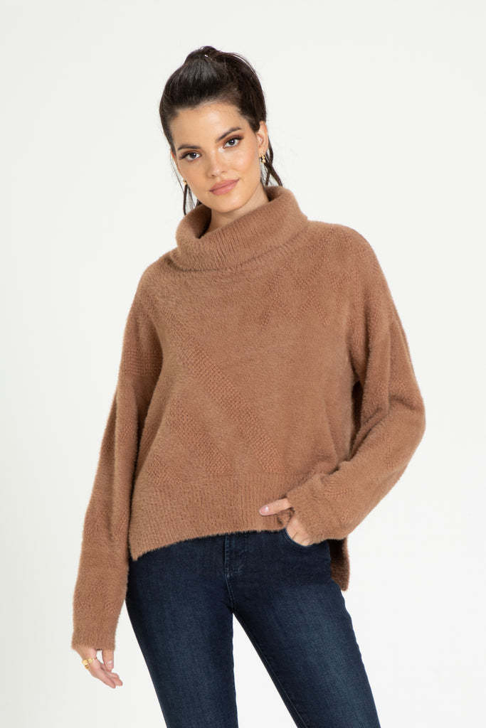 CECELIA COWL NECK SWEATER DESERT