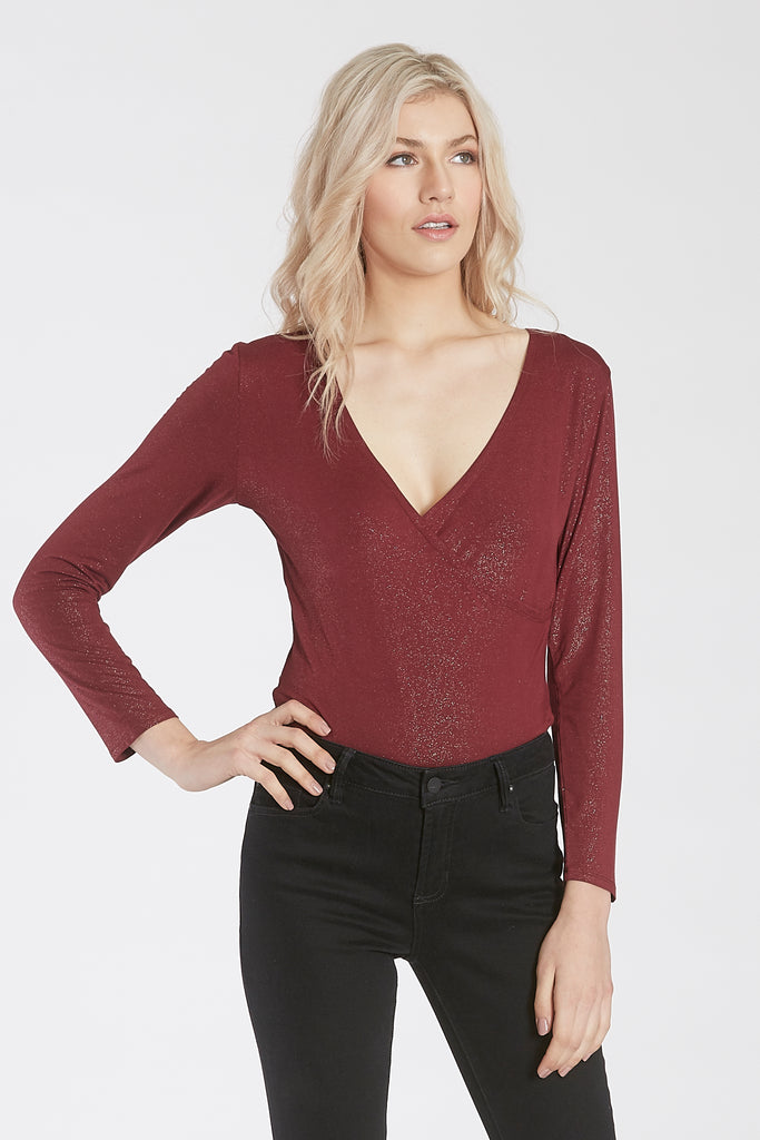 JAMIE LONG SLEEVE BODY SUIT W/SNAP CLOSURE BORDEAUX