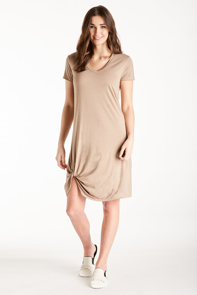 HOPE VNECK SIDE KNOT DRESS LIGHT MOCHA