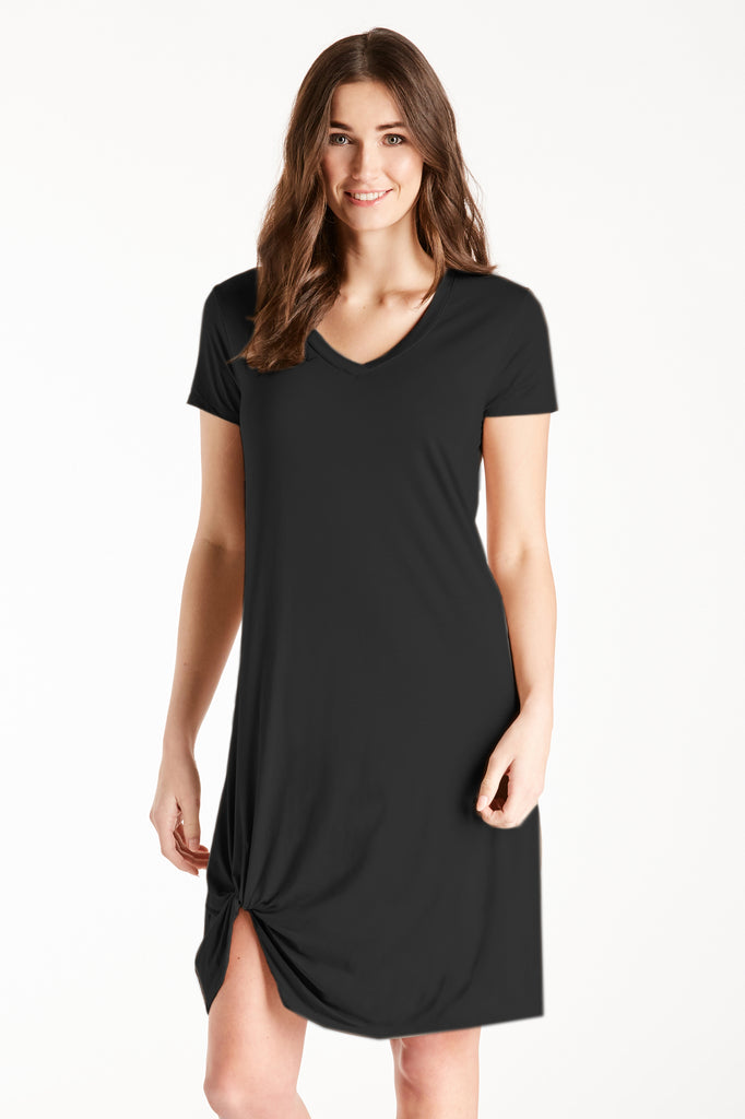 HOPE VNECK SIDE KNOT DRESS BLACK