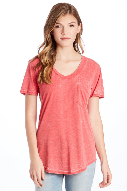 PHOENIX BURNOUT POCKET VNECK TEE RED